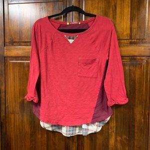 Anthro Little Yellow Button Red Shirt sz small